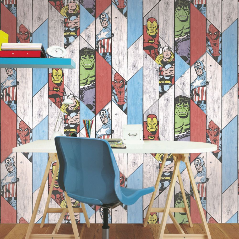 Graham and Brown Marvel Super Heroes Wood Panel 102435 Wallpaper